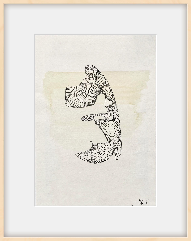 Embryo Selbst 14 x 21 cm Aquarell und Tusche