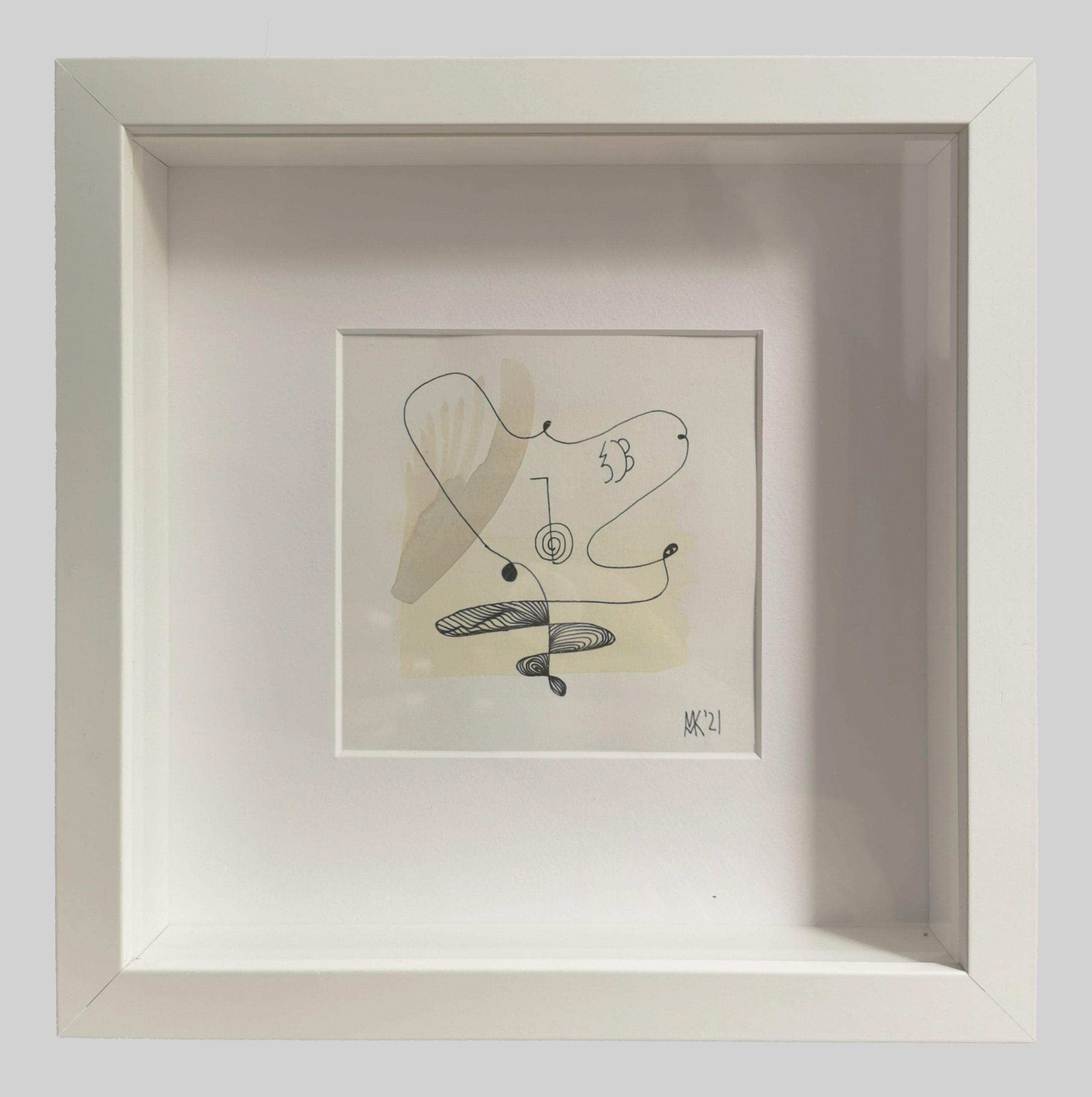 Abstrakte zeitgenössische Kust, Aquarell und Tusche auf Papier 11 x 11 cm, gerahmt 24 x 24 cm