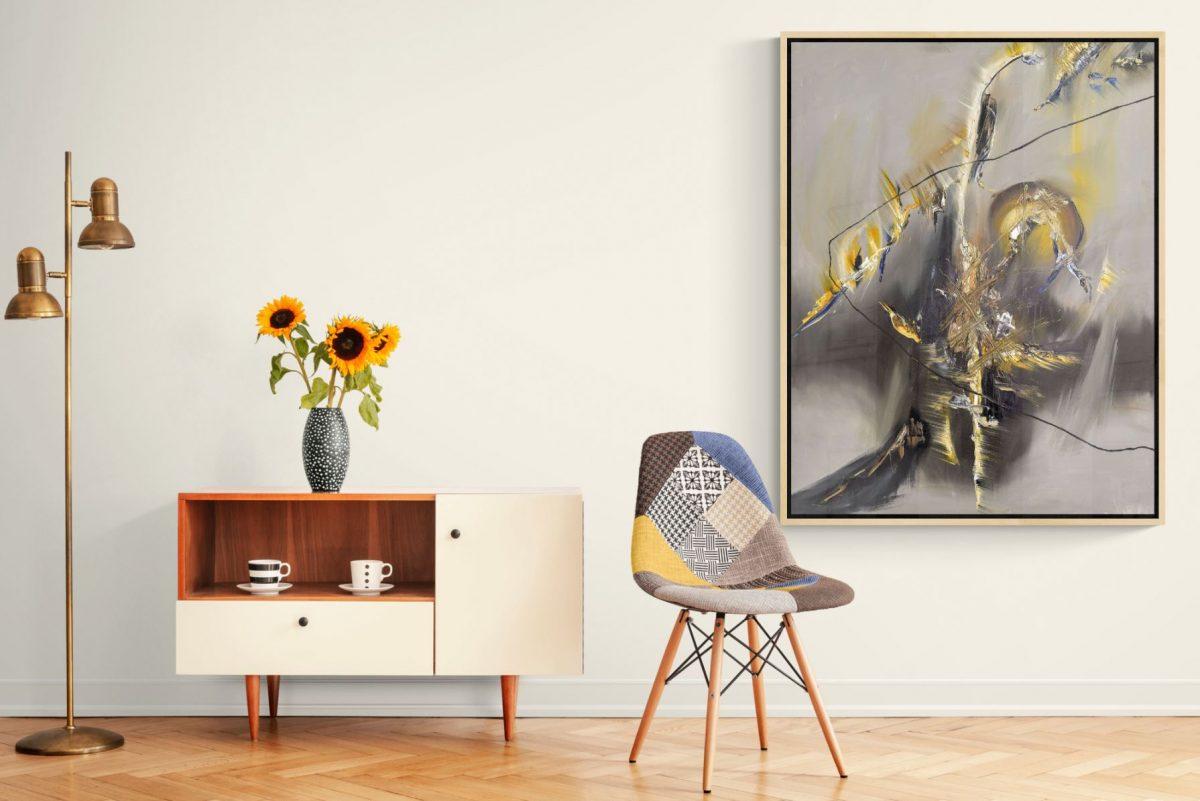 100 x 130 cm, abstrakt, Ölgemälde, dynamisch, expressiv, zeitgenössische Kunst
