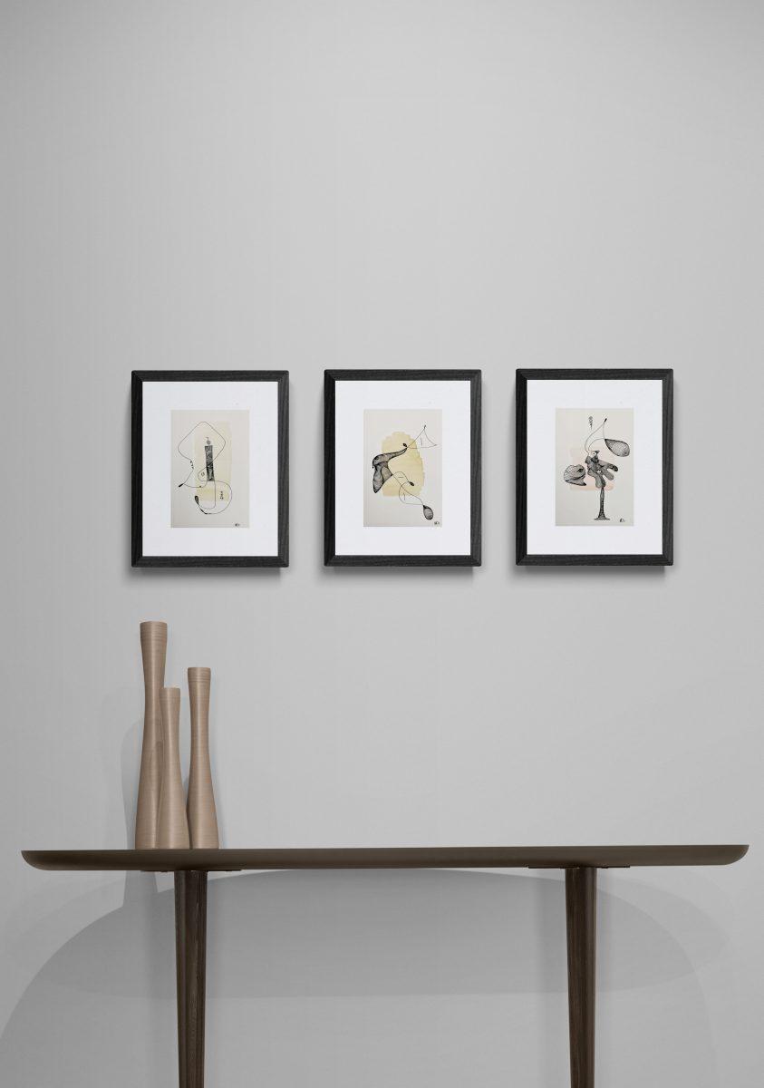 14 x 21 Maße Aquarell und Tusche auf Papier zeitgenössische abstrakte Malerei und Zeichnung