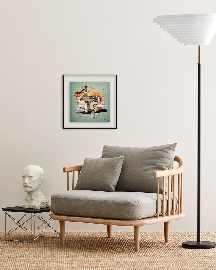 25 x 25 Acryl und Fineliner auf Leinwand abstrakt zeitgenössisch Marcela Kamanis Grün blau-grün grau 2