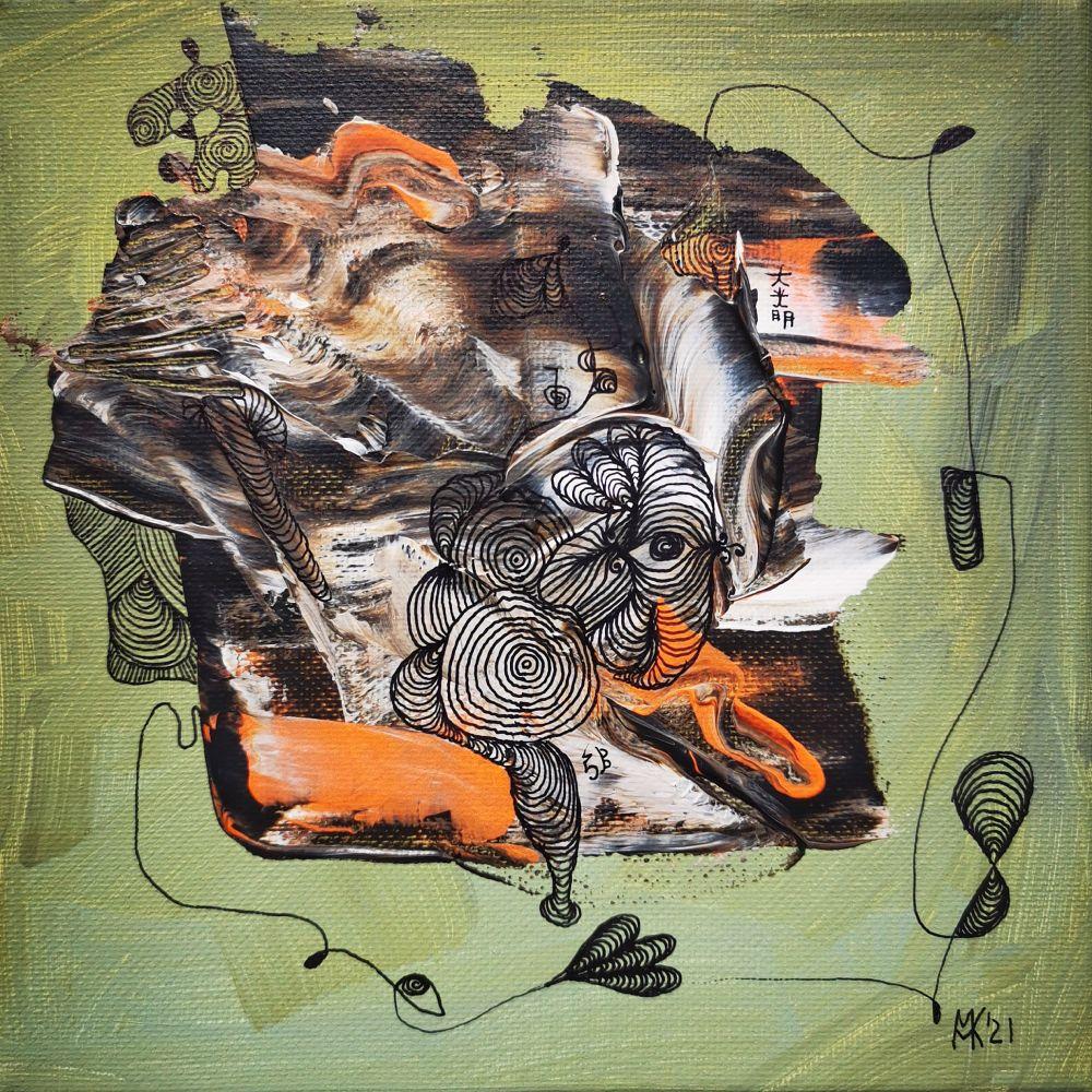 20 x 20 Acryl und Fineliner auf Leinwand abstrakt zeitgenössisch Marcela Kamanis Grün grau neon-orange