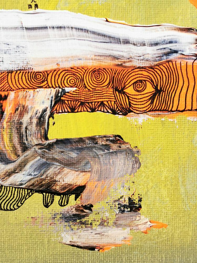 25 x 25 Acryl und Fineliner auf Leinwand abstrakt zeitgenössisch Marcela Kamanis Grün-Gelb 2 Detail 1