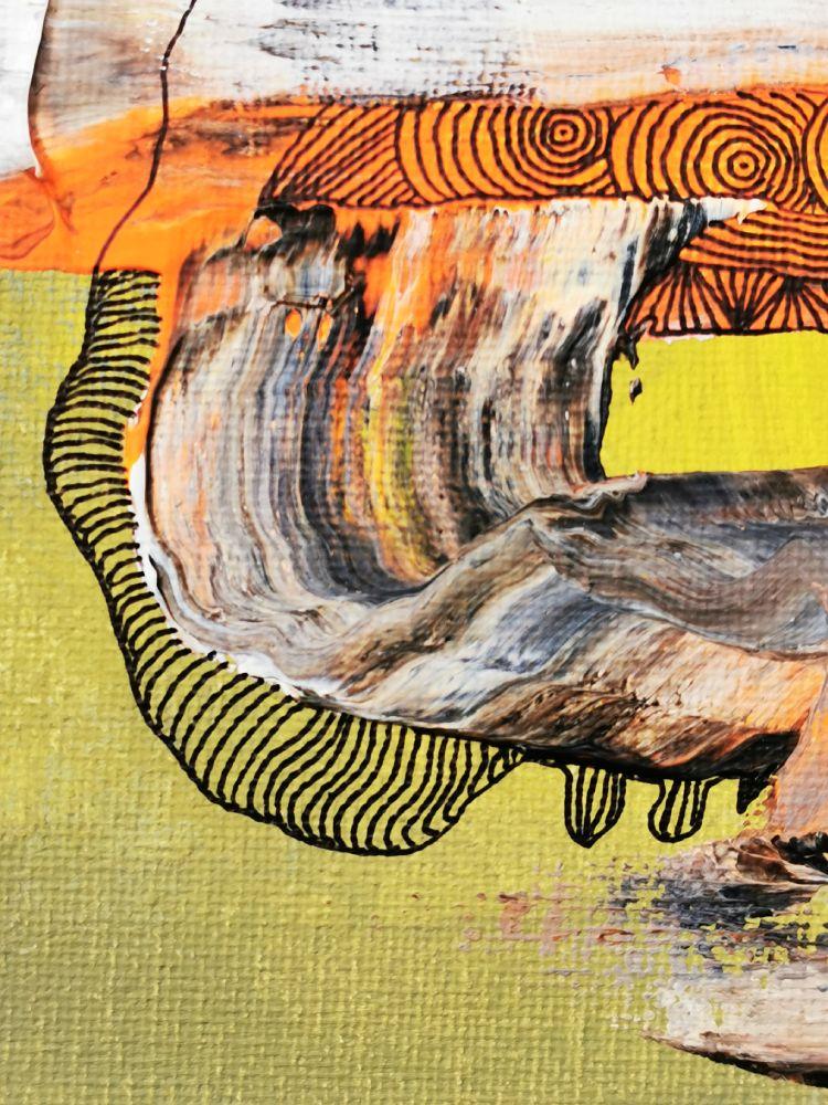 25 x 25 Acryl und Fineliner auf Leinwand abstrakt zeitgenössisch Marcela Kamanis Grün-Gelb 2 Detail 3