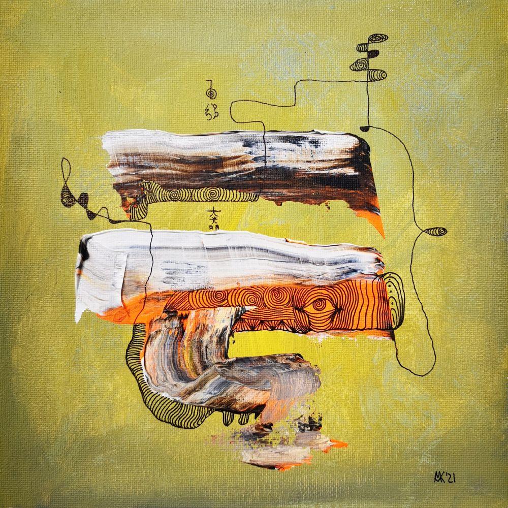 Insight IV 25 x 25 Acryl und Fineliner auf Leinwand abstrakt zeitgenössisch Marcela Kamanis Grün-Gelb 2