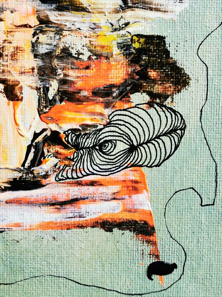 25 x 25 Acryl und Fineliner auf Leinwand abstrakt zeitgenössisch Marcela Kamanis Grün blau grau Detail 2