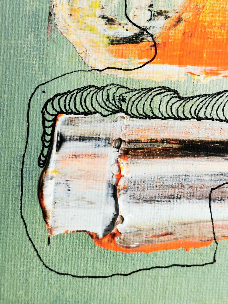 25 x 25 Acryl und Fineliner auf Leinwand abstrakt zeitgenössisch Marcela Kamanis Grün blau grau Detail 3