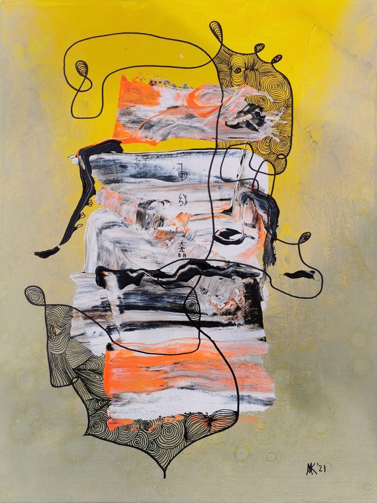 30 x 40 Acryl und Fineliner auf Leinwand abstrakt zeitgenössisch Marcela Kamanis
