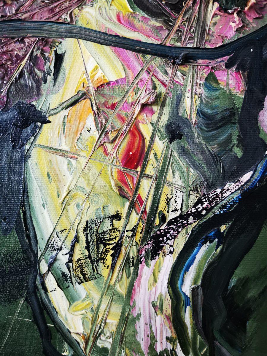 70 x110 Öl auf Leinwand Ölgemälde abstrakt zweitgenössisch- 2010 Marcela Margret Kamans Kozlik Kunst grün