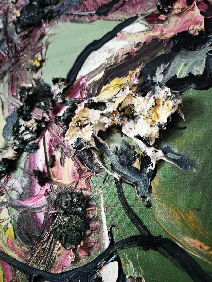 70 x110Öl auf Leinwand Ölgemälde abstrakt zweitgenössisch- 2010 Marcela Margret Kamans Kozlik Kunst grün