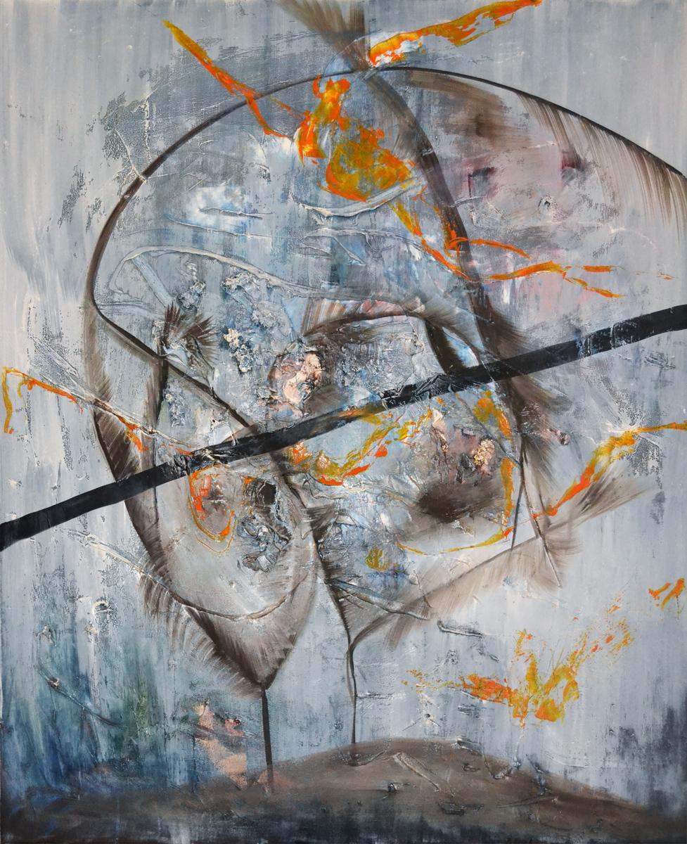 90 x110 Öl auf Leinwand zeitgenössisch abstrakt skulpturell
