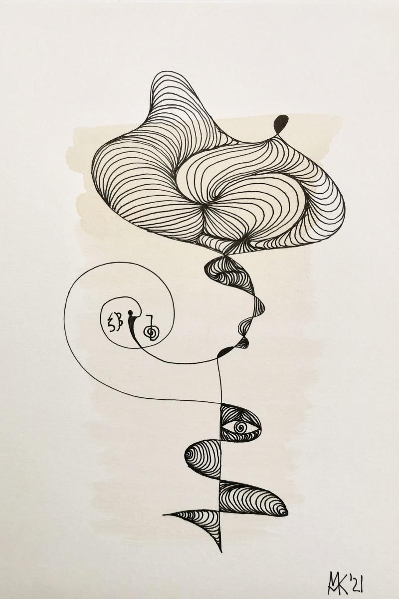 """""""Blühend"""" Abstrakte zeitgenössische Kunst, Aquarell und Tusche auf Papier 14 x 21 cm, gerahmt 24 x 32 cm"""