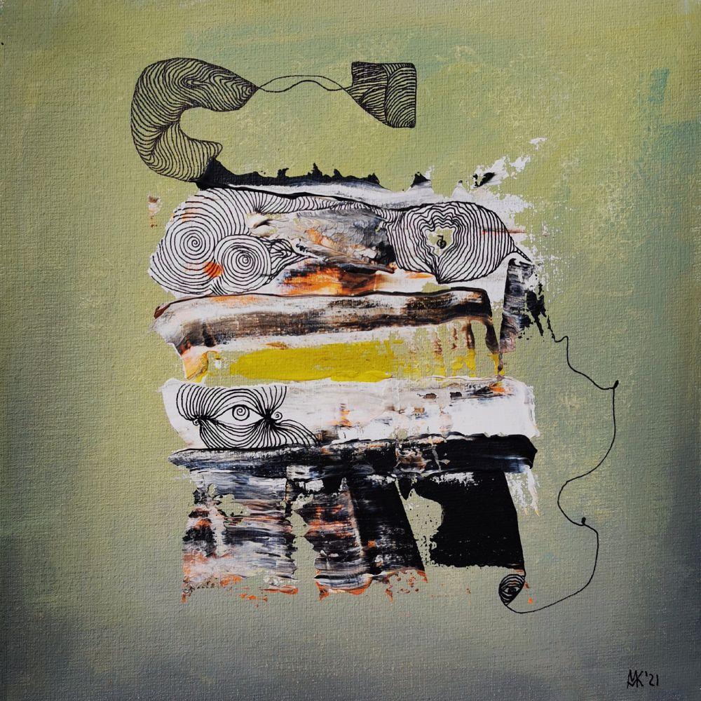 Insight 3 25 x 25 Acryl und Fineliner auf Leinwand abstrakt zeitgenössisch Marcela Kamanis Grün blau-grün grau-