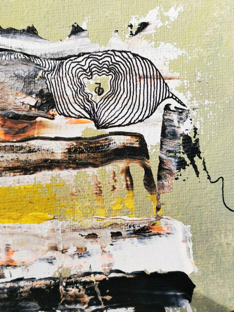 Insight 3 25 x 25 Acryl und Fineliner auf Leinwand abstrakt zeitgenössisch Marcela Kamanis Grün blau-grün grau- Detail 2