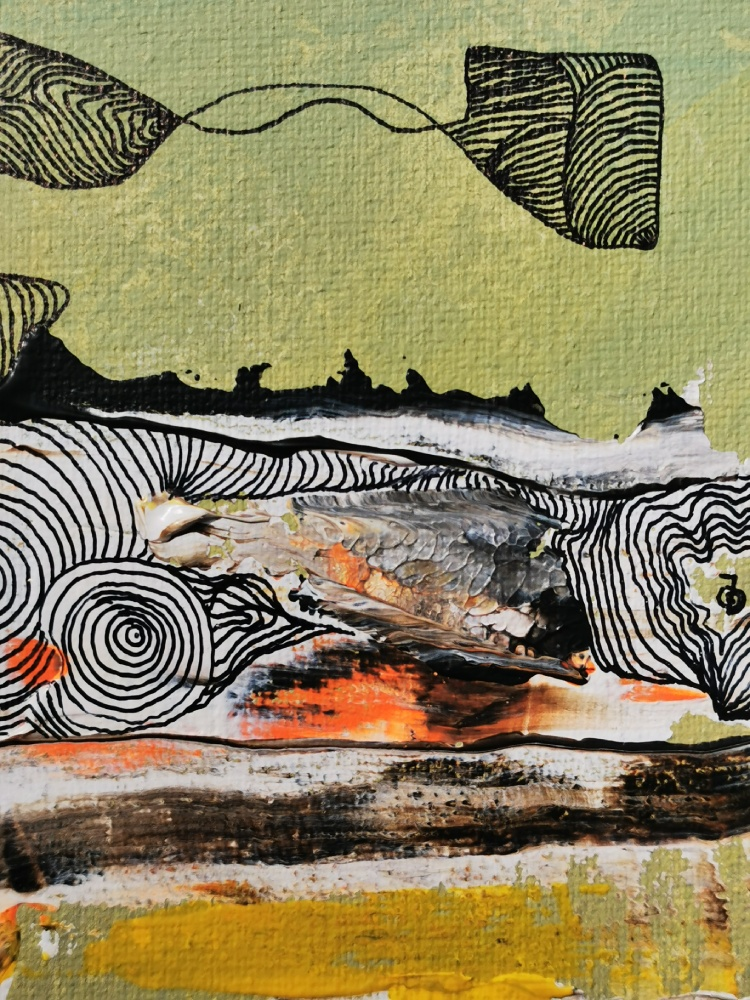 Insight 3 25 x 25 Acryl und Fineliner auf Leinwand abstrakt zeitgenössisch Marcela Kamanis Grün blau-grün grau- Detail 3