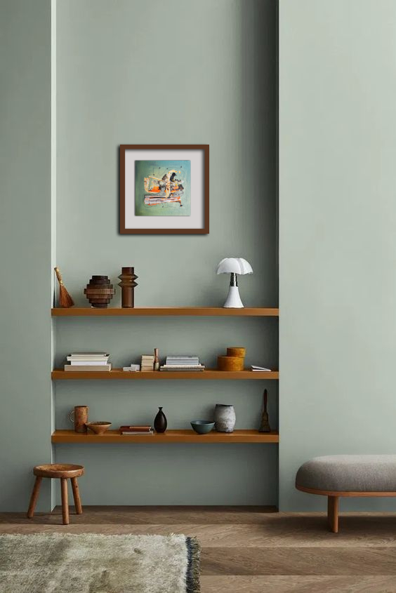 25 x 25 Acryl und Fineliner auf Leinwand abstrakt zeitgenössisch Marcela Kamanis Grün blau-grün grau