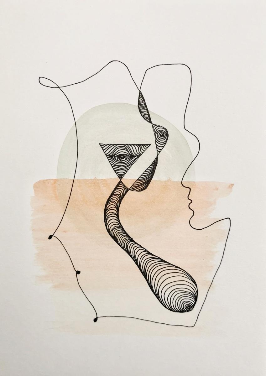 """""""Intro"""" 14 x 21 abstraktes Aquarell und Tusche auf Papier 2021"""